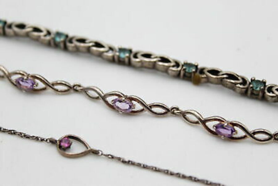 Antique 3 x .925 Sterling Silver BRACELETS inc. Celtic Knot, Amethyst (18g)