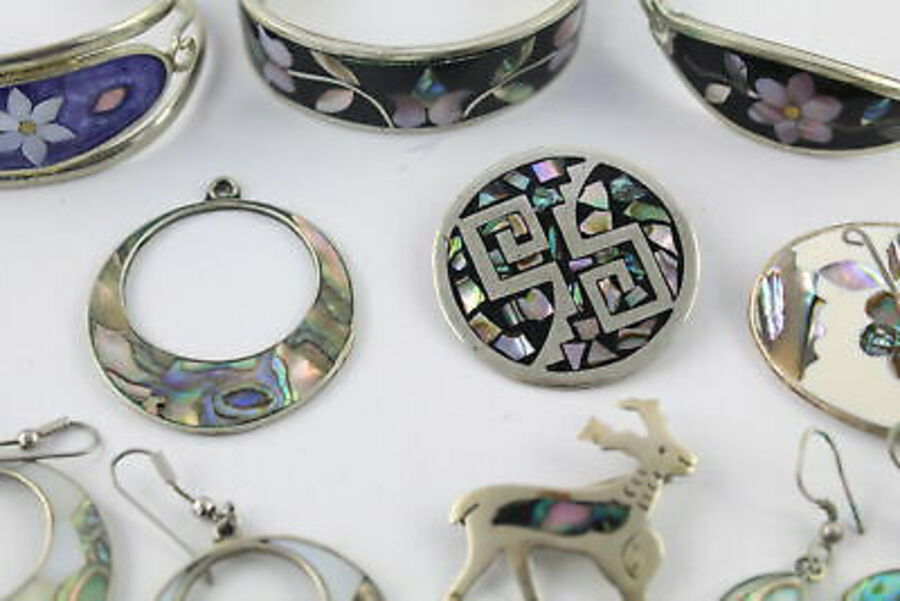 Antique 10 x Vintage ALPACA JEWELLERY inc. Inlay, Mexico Stamps, MOP, Earrings, Bangles