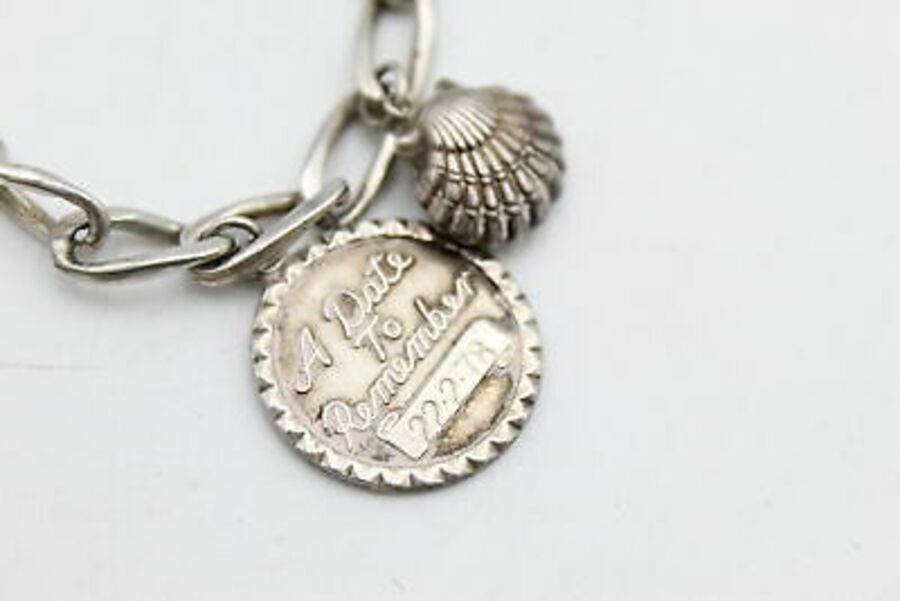 Antique Vintage .925 Sterling Silver CHARM BRACELET inc. Castle, Keys, Seashell (28g)