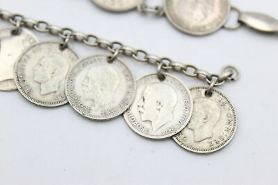 Antique 2 x Antique Silver Coin BRACELETS inc 1843, Victoria, George V, Fourpence (40g)