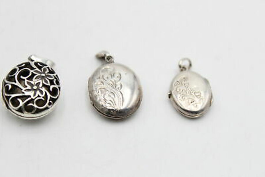 Antique 4 x Vintage .925 Sterling Silver LOCKETS inc. Fairy, Engraved, Scrolling (20g)