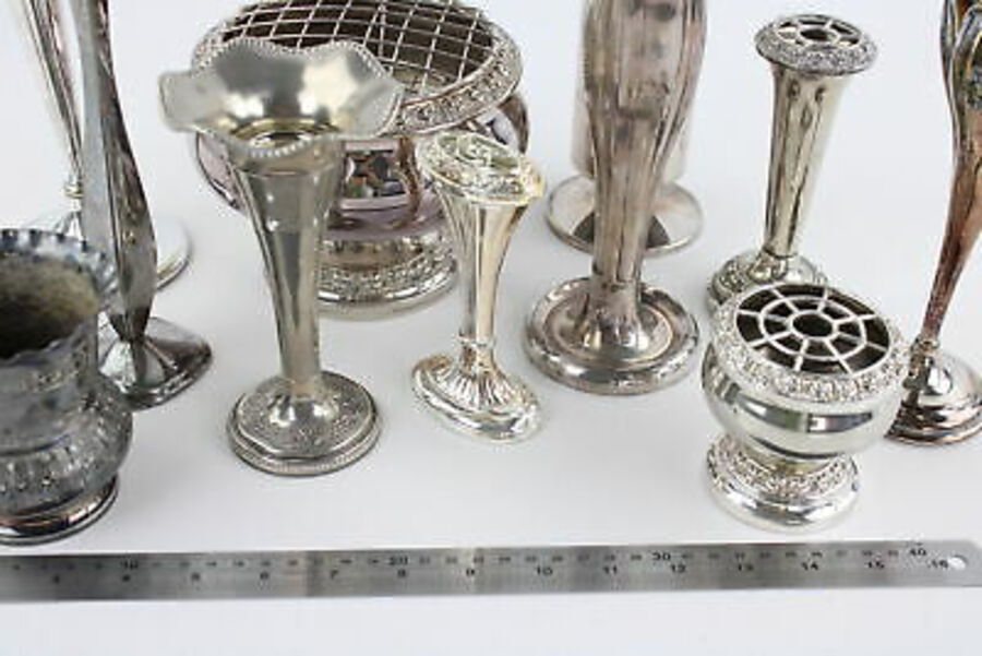 Antique 12 x Vintage SILVER PLATE Vases Inc. Pierced Trumpet Vase, Pairs, Rose Bowl Etc
