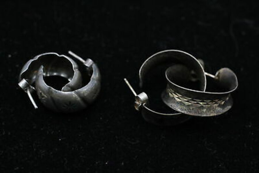 Antique 10 x .925 Sterling Silver EARRINGS inc. Hoops, Half Hoops, Ornate (26g)
