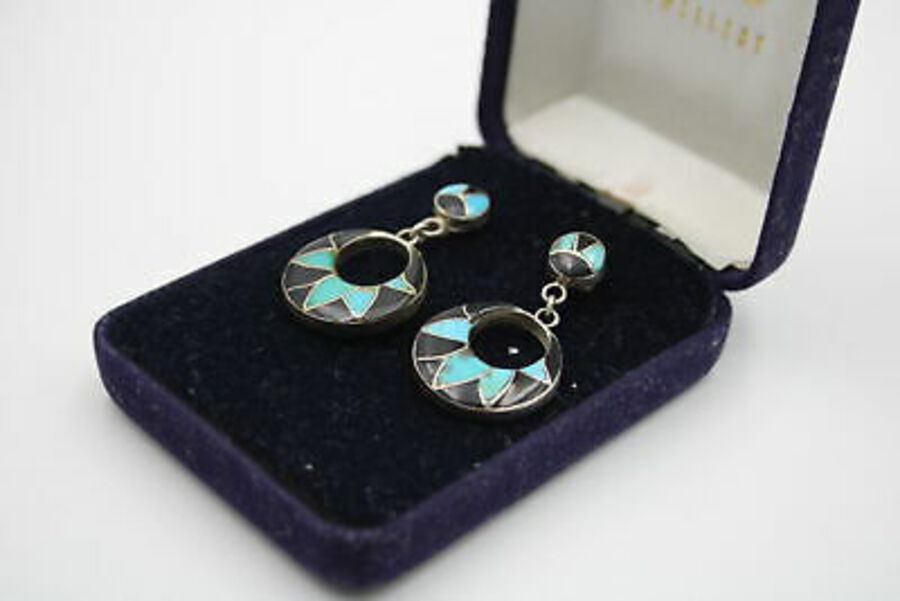 Antique 3 x .925 Sterling Silver EARRINGS inc. Turquoise, Mexico, Drops, Studs (25g)