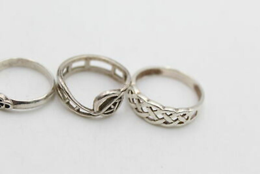 Antique 6 x .925 Sterling Silver RINGS inc. Kit Heath, Carrick, Knot Work (13g)