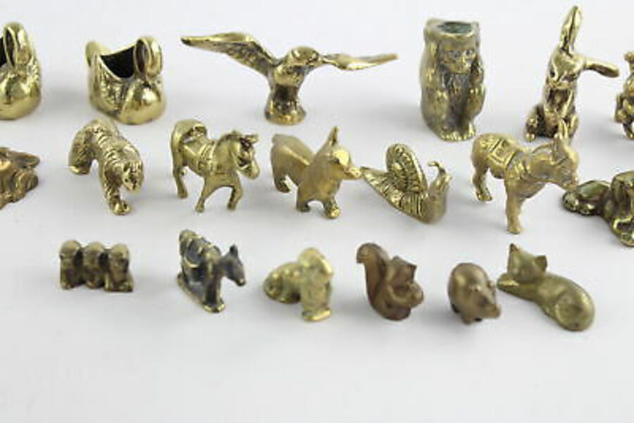 Antique 20 x Vintage Decorative BRASS Animals Inc. Lion, Bear, Dachshund, Snail (2112g)