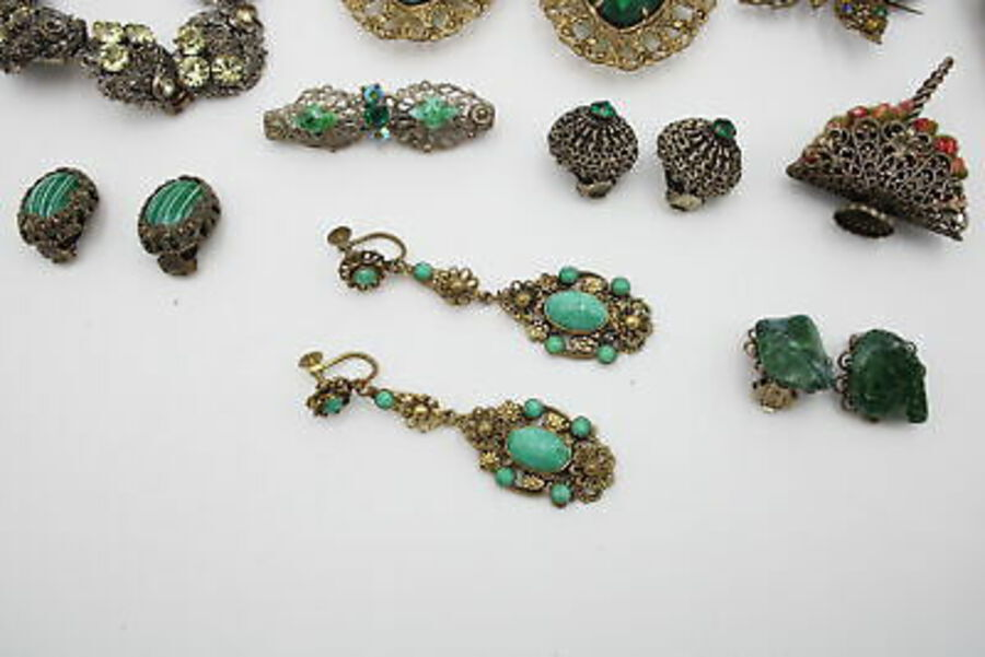 Antique 10 x Vintage CZECH FILIGREE Jewellery inc. Peking Glass, Bracelet, Earrings