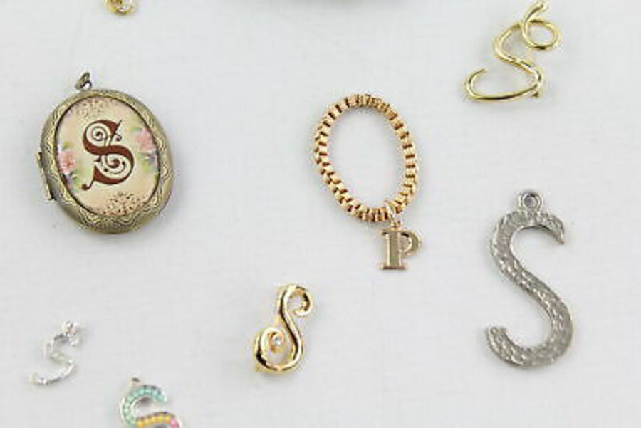 Antique 25 x Vintage & Retro Alphabet JEWELLERY inc. S, P, G, Earrings, Brooches