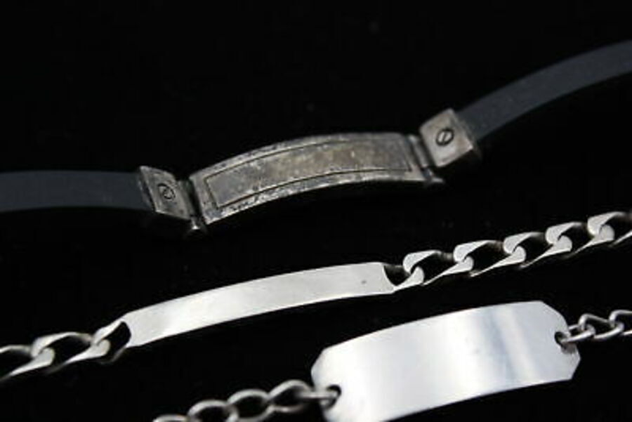 Antique 4 x .925 Sterling Silver ID BRACELETS inc. Blank, Chunky, Gents, Curb Link (35g)
