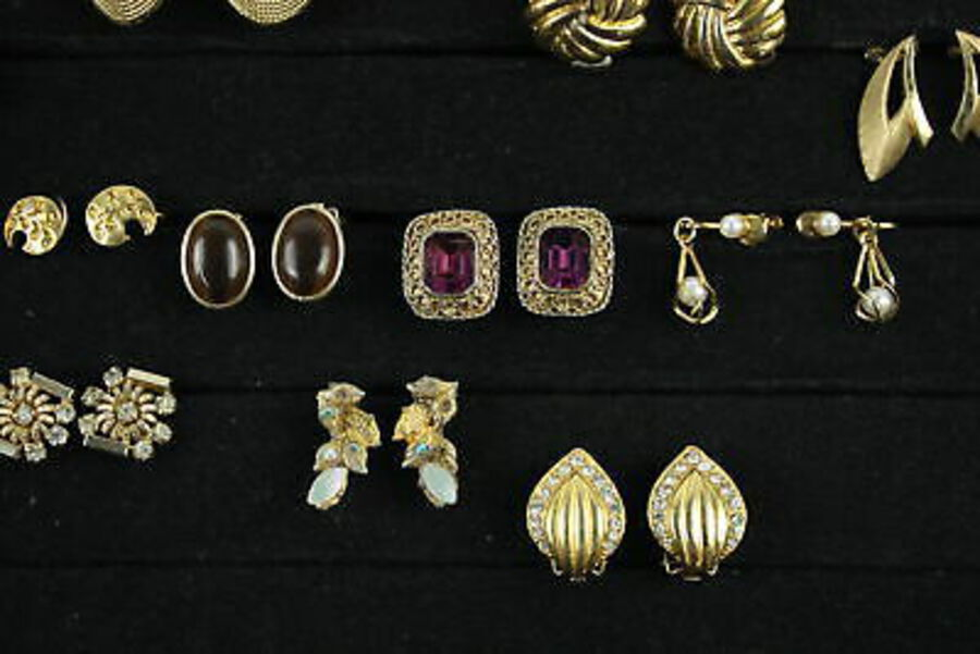Antique 20 x Vintage & Retro CLIP ON EARRINGS inc. Hoops, Gold Tone, Rhinestone