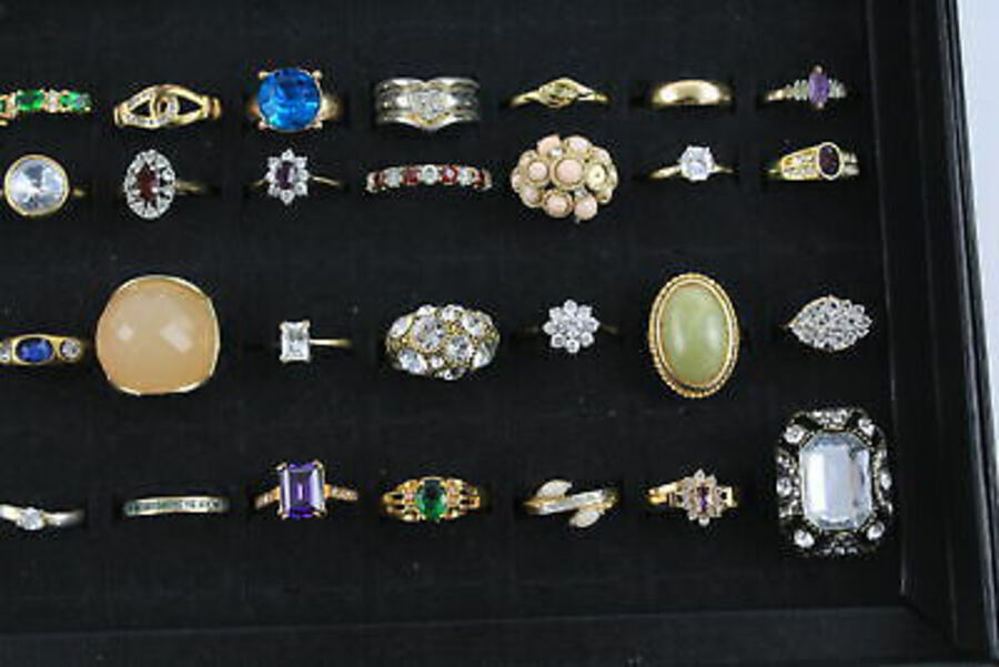 Antique 50 x Vintage Costume RINGS inc. Gold Tone, Rhinestone, Cocktail, Eternity