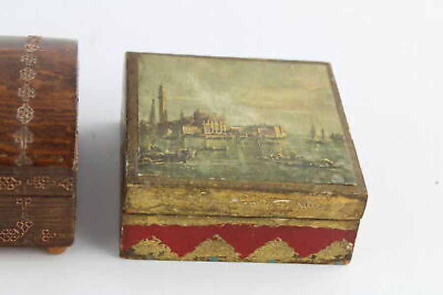 Antique 6 x Antique / Vintage Decorative WOODEN BOXES Inc Mauchline Ware, Souvenir Etc