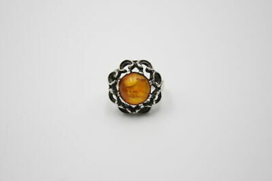 Antique 3 x .925 & .835 Silver RINGS inc. Baltic Amber, Ornate Setting, Large (18g)