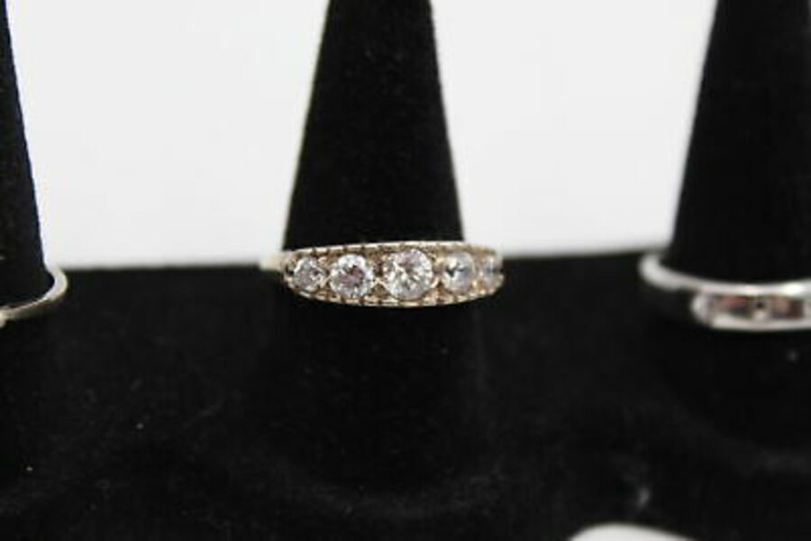 Antique 5 x Vintage .925 Sterling Silver RINGS inc. Eternity, CZ, Always, Band (17g)