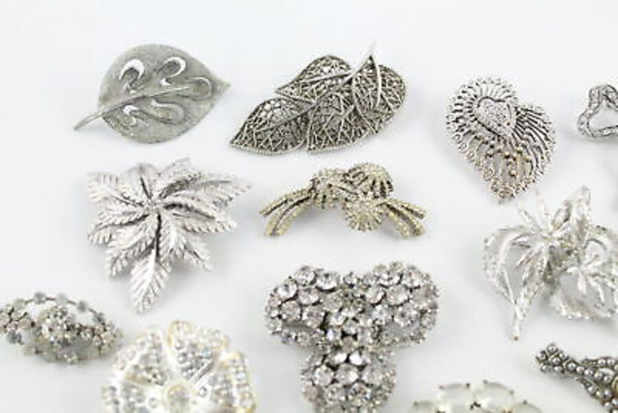 Antique 25 x Vintage BROOCHES inc. Statement, Rhinestone, Silver Tone, Scarf Clip