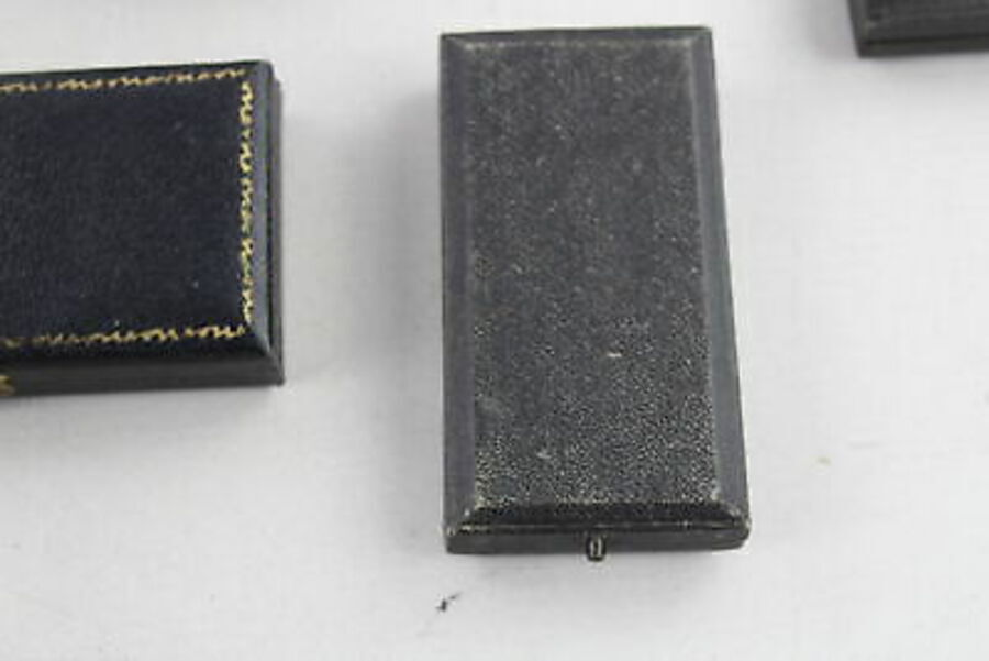 Antique 5 x True Vintage BOXES inc. Brooches, Black, Blue, Velvet Lined