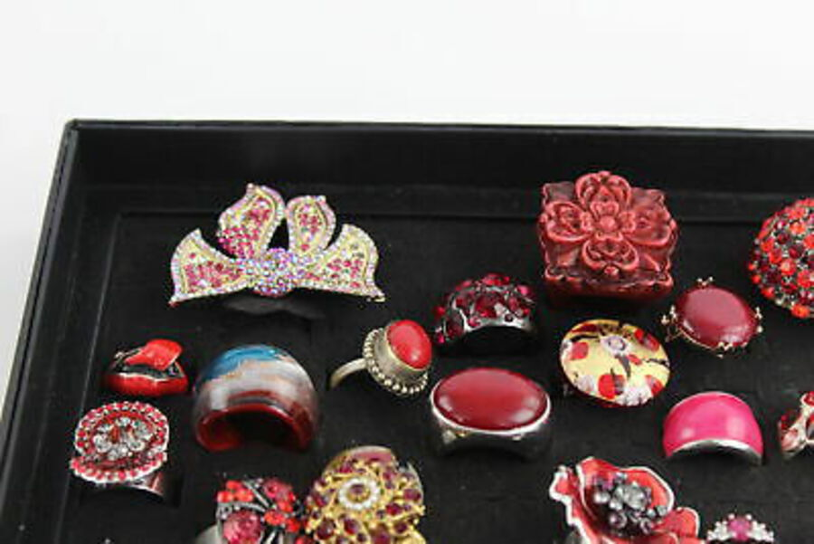 Antique 40 x Vintage & Retro RINGS inc. Floral, CZ, Poppy, Bow, Enamel