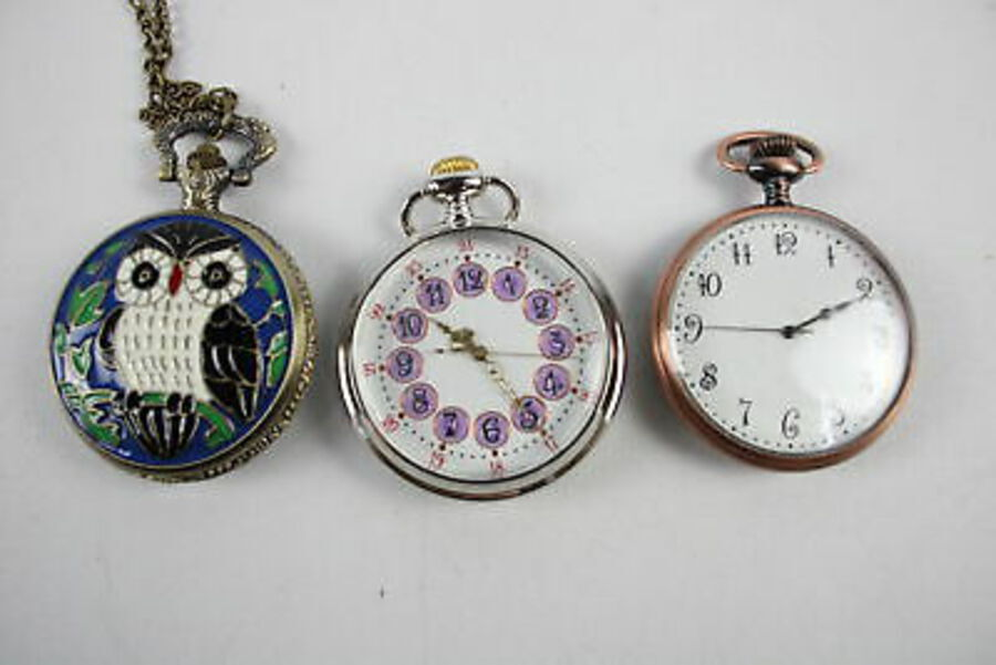 Antique 12 x Vintage Gents Collectors QUARTZ POCKET WATCHES Inc. Animals, Birds Etc