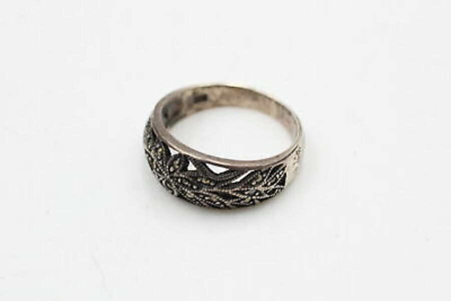 Antique 5 x .925 Sterling Silver RINGS inc. Marcasite, Half Eternity, Foliate (13g)