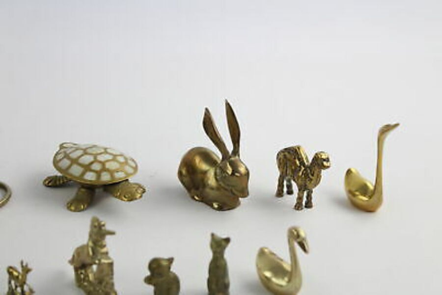 Antique 12 x Vintage Decorative BRASS Animals Inc Mother Of Pearl Tortoise, Lion (1950g)