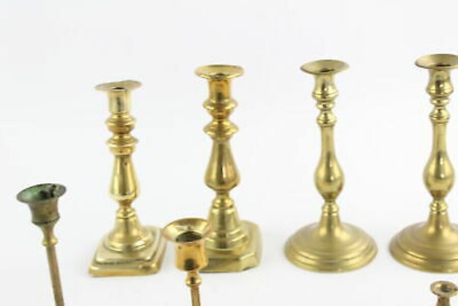 Antique 12 x Vintage BRASS Candlesticks / Holders Inc. Matching Pairs, Thistle (2840g)