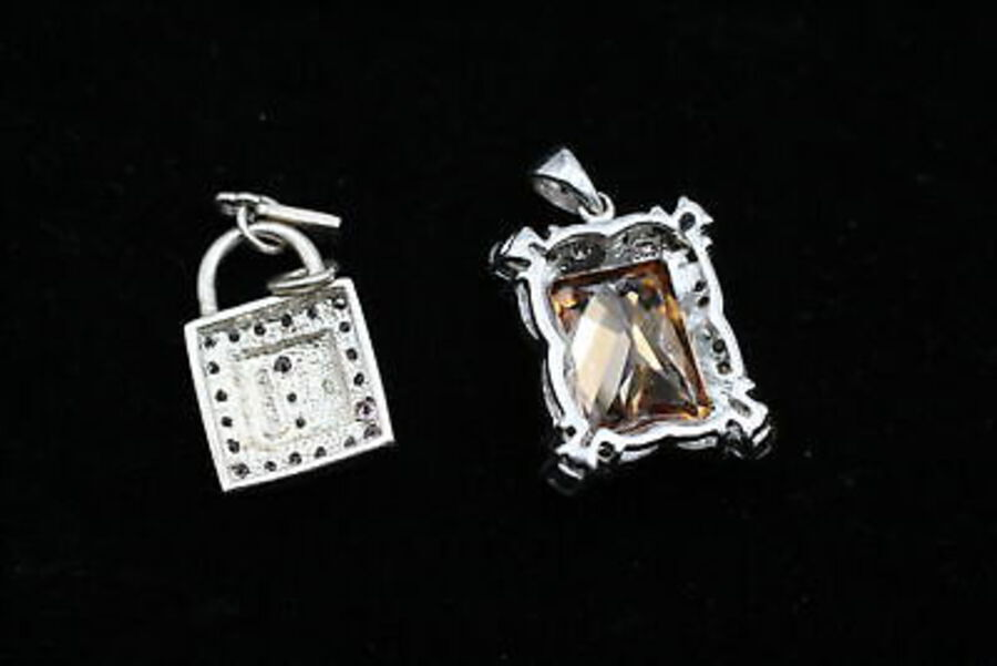 Antique 10 x .925 Sterling Silver PENDANTS inc. CZ, Emerald, Heart, Floral, Drops (28g)