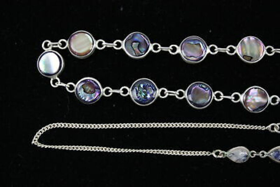 Antique 4 x Vintage .925 Sterling Silver NECKLACES inc. Moonstone, Abalone (50g)