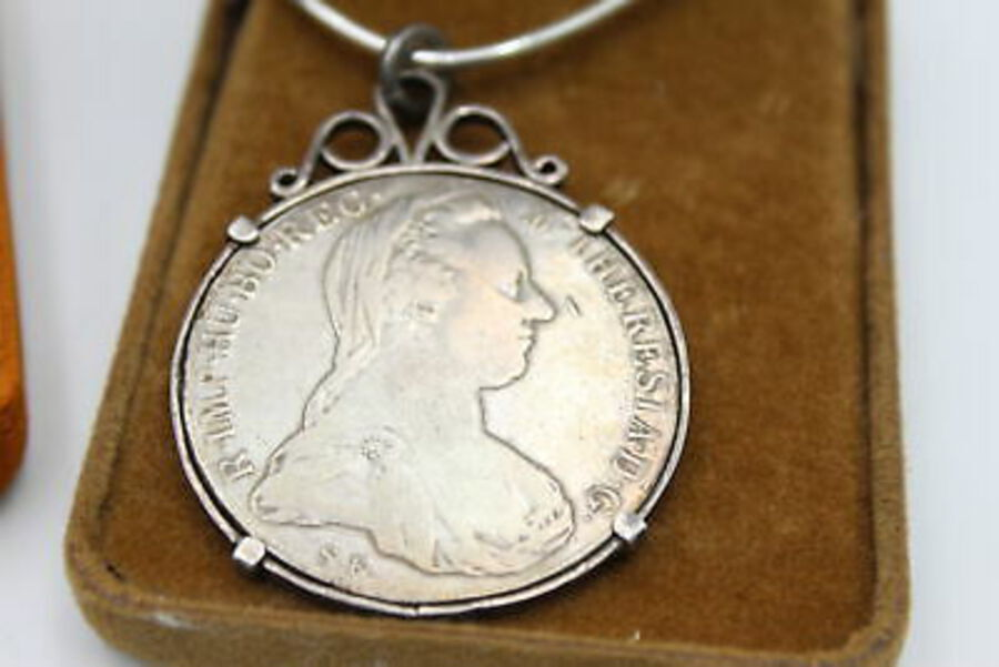 Antique 3 x Silver 1780 Maria Theresa Thaler Coin NECKLACES w/ .925 Silver Chains (133g)
