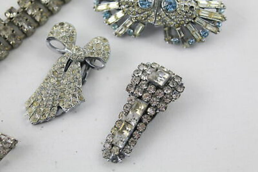 Antique 8 x ART DECO Jewellery inc. Dress Clips, Riviere Necklace, Duette Brooch