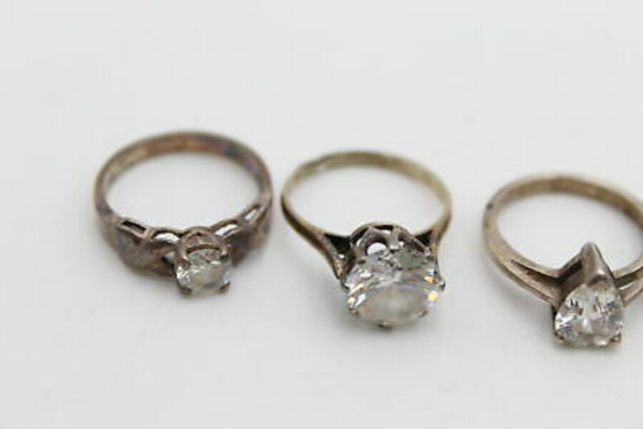 Antique 5 x .925 Sterling Silver RINGS inc. CZ, Statement, Cocktail (16g)