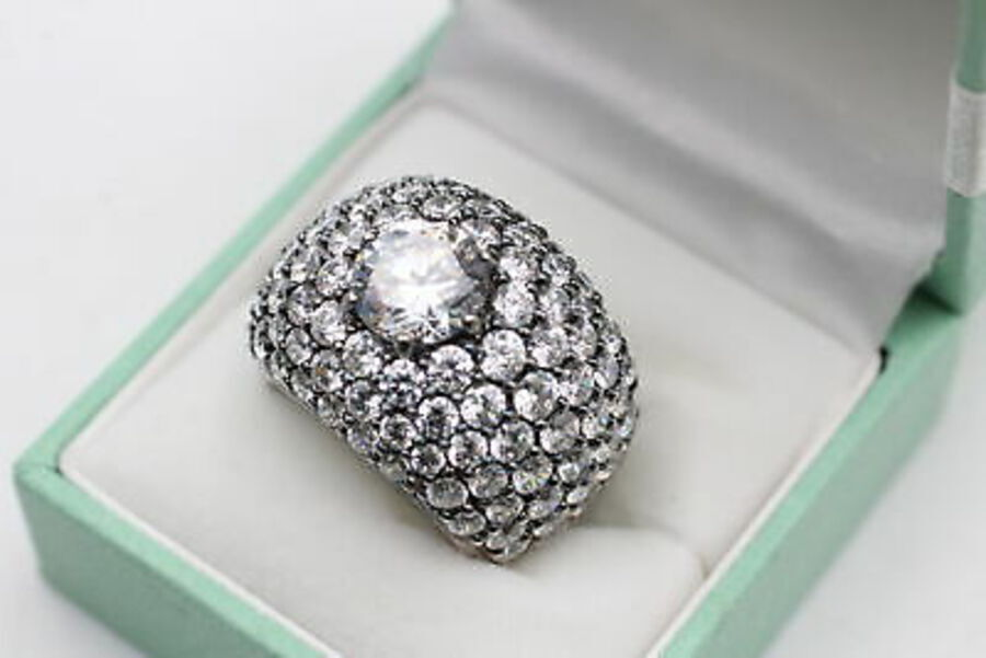 Antique .925 Sterling Silver RING inc. CZ, Bombe, Cocktail, Pave Set, Bling (15g)