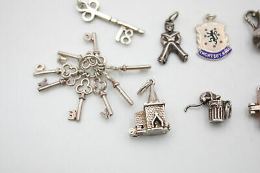 Antique 12 x Vintage .925 Sterling Silver CHARMS / PENDANTS inc. Opening, Keys (27g)