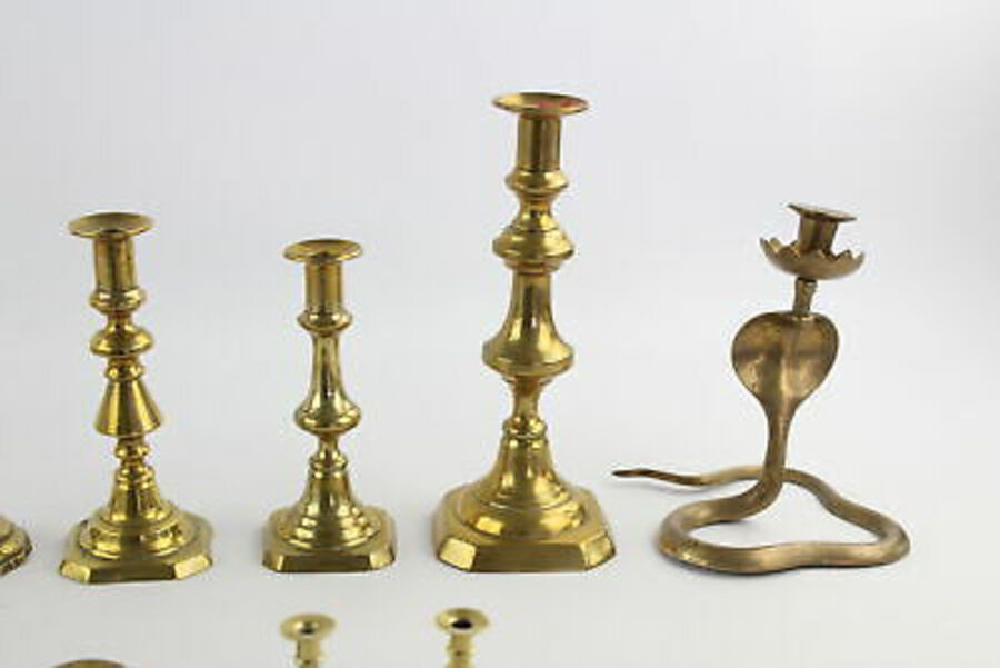 Antique 12 x Vintage BRASS Candlesticks / Holders Inc. Cobra Pair, Matching Pairs 3704g
