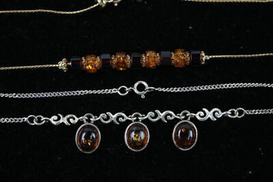 Antique 4 x .925 Sterling Silver Amber NECKLACES inc. Baltic, Gold Plated, Drops (28g)