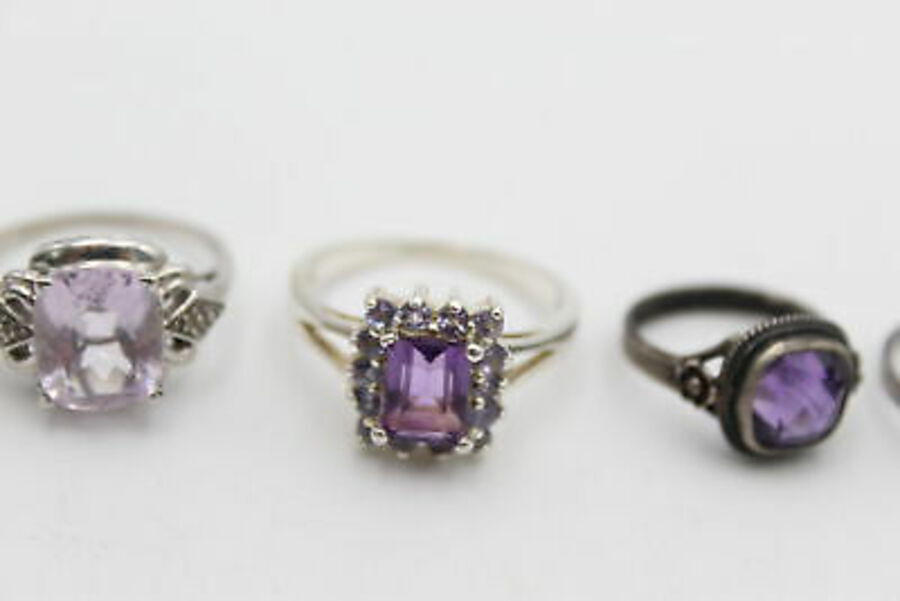 Antique 5 x .925 Sterling Silver RINGS inc. Marcasite, Purple, Ornate, Deco Style (18g)