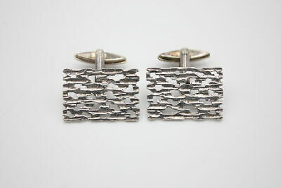 Antique 2 x Vintage .925 Sterling Silver CUFFLINKS inc. Brutalist, Cut Work (20g)