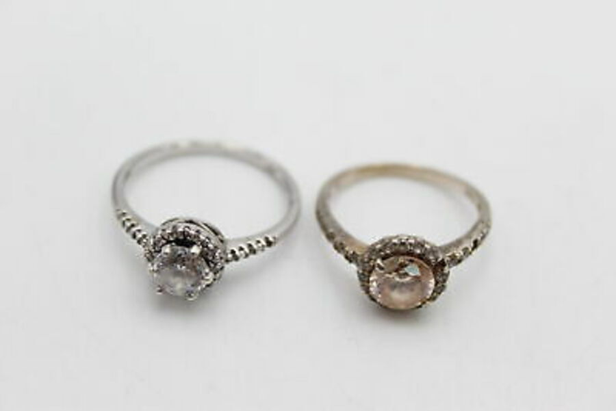 Antique 4 x .925 Sterling Silver RINGS inc. CZ, Halo, Cocktail, Pink (15g)