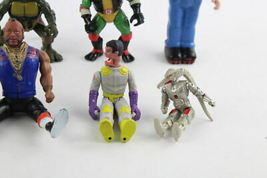 Antique 8 x Assorted Vintage 1980s Action Figures Inc. Ghostbusters & Ninja Turtles