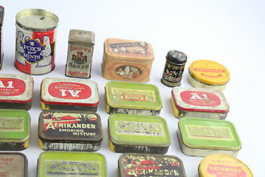 Antique 30 x Assorted Vintage ADVERTISING TINS Inc Cigarettes, Medical, Murray's Etc