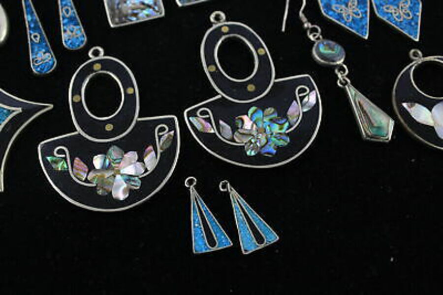 Antique 20 x Vintage ABALONE & ALPACA LOOSE PANELS inc. Mexico Stamps, Earrings
