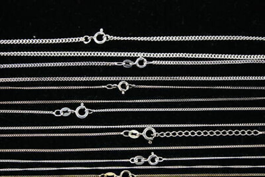 Antique 14 x Vintage .925 Sterling Silver CHAINS inc. Curb Link, Flat Curb, Fine (29g)