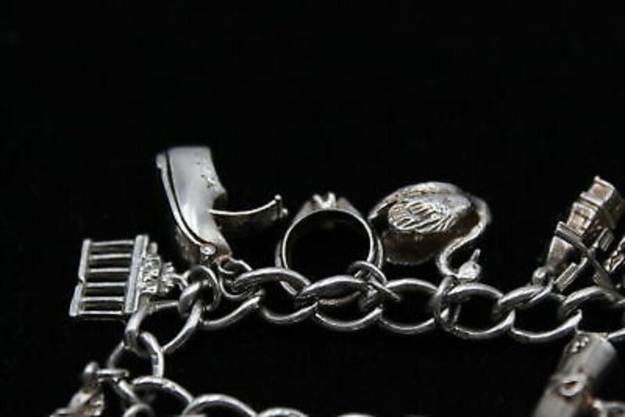 Antique .925 Sterling Silver CHARM BRACELET inc. Heart Padlock, Bible, Swan (50g)