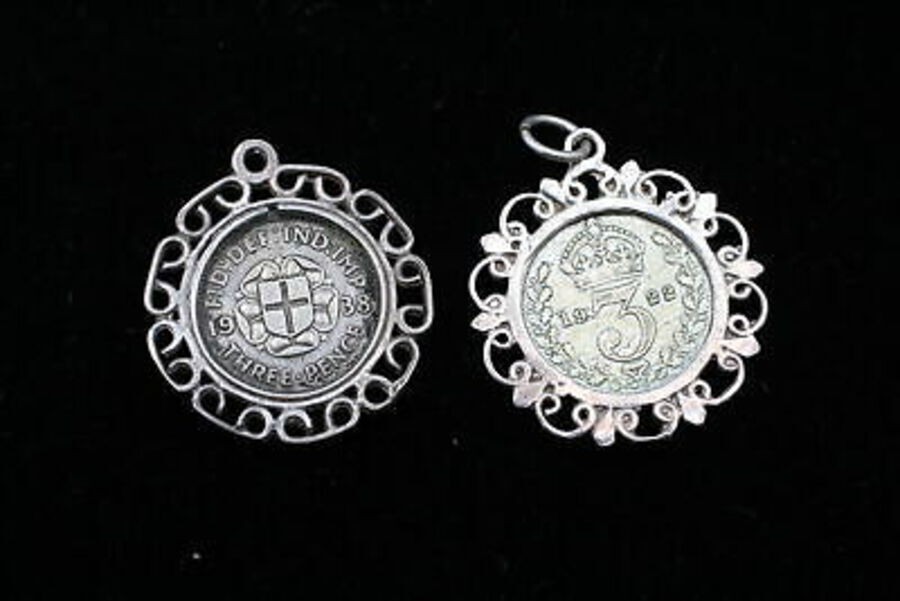 Antique 6 x .925 Sterling Silver Coin Pendants inc. Enamel, Elizabeth II, Farthing (35g)