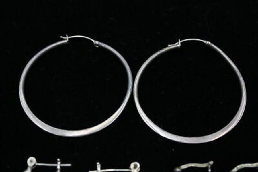 Antique 10 x .925 Sterling Silver EARRINGS inc. Hoops, Half Hoops, Creole (32g)
