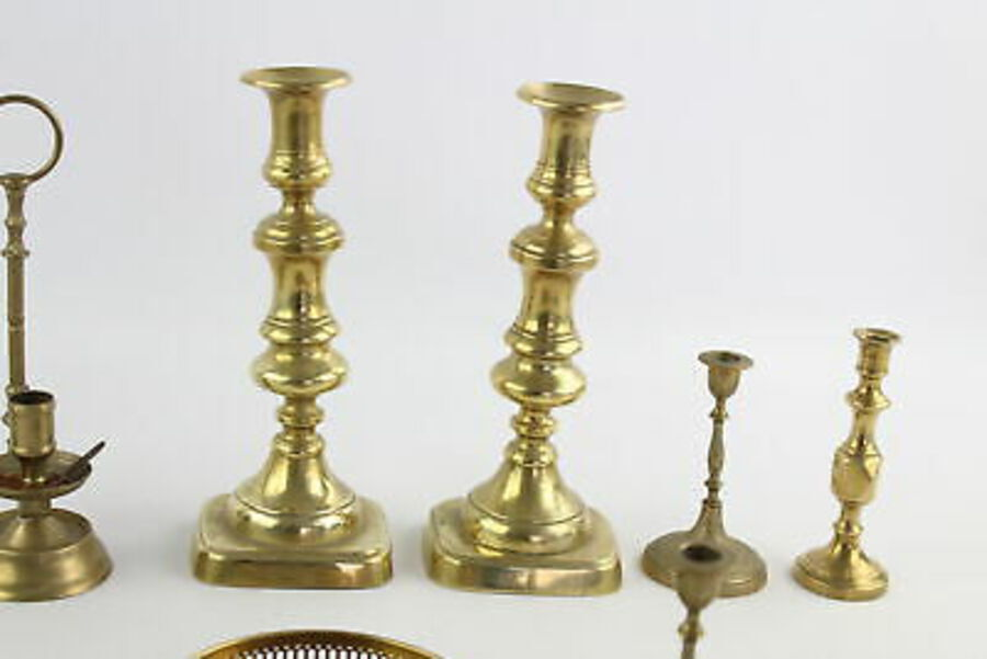 Antique 12 x Vintage BRASS Candlesticks / Holders Inc. Matching Pairs Etc (3461g)
