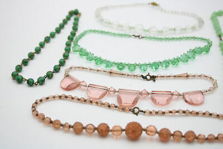 Antique 6 x Antique GLASS NECKLACES inc. End Of Day, Art Deco, Pressed, Hand Cut