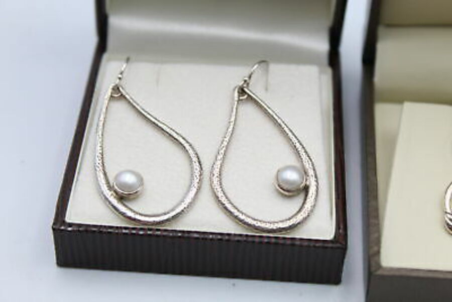 Antique 3 x .925 Sterling Silver PEARL EARRINGS inc. Faux Pearl, Drops, Statement (14g)