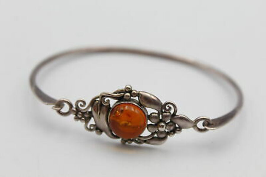 Antique .925 Sterling Silver AMBER BANGLE Round Cabochon Stone In Organic Surround (10g)