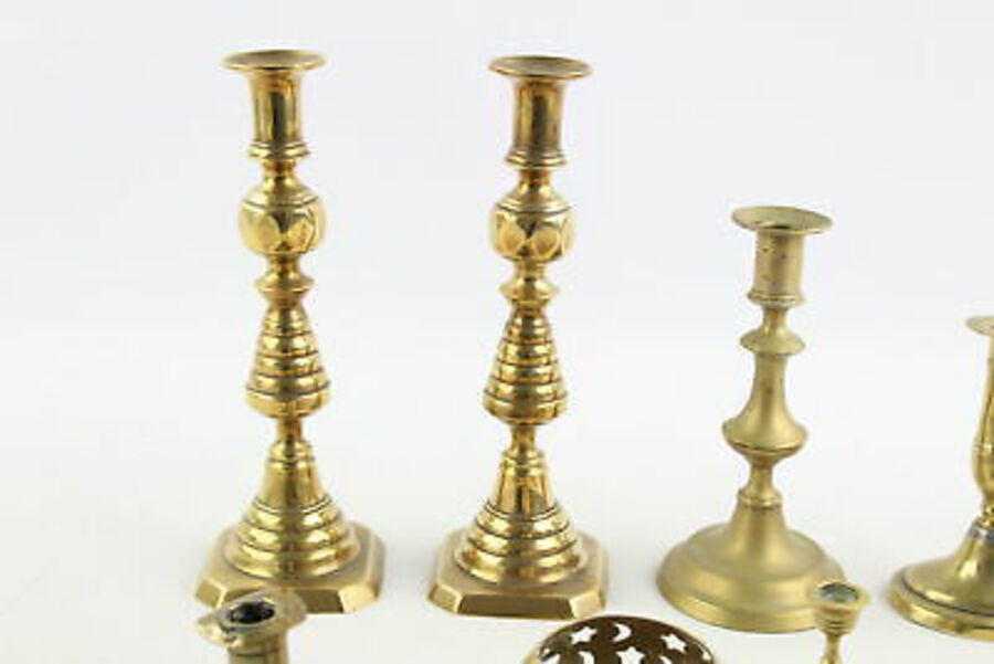 Antique 12 x Vintage BRASS Candlesticks / Holders Inc. Matching Pairs Etc (2999g)