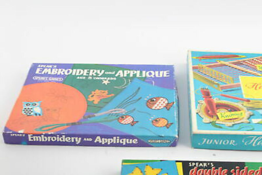 Antique 5 x Assorted Vintage Haberdashery Craft Kits Inc. TRIANG, Crochet, Sewing, Etc